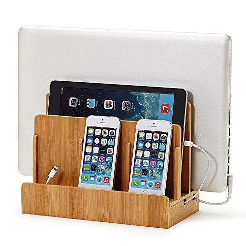 Top 10 best ipad docking charging stations top ten select gus eco friendly bamboo multi device charging station and dock publicscrutiny Images