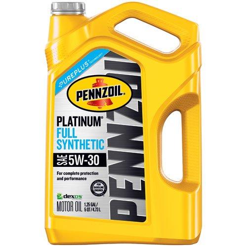 Pennzoil 550046126 Platinum 5 Quart 5w 30 Full Synthetic Motor Oil Sn Gf Jug