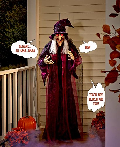 71inch life size hanging animated talking witch halloween haunted house prop dcor