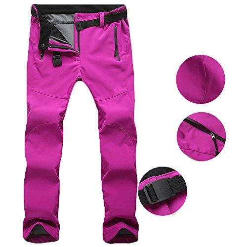TBMPOY Womens Windproof Waterproof Snow Pants Outdoor Hiking Fleece Pants